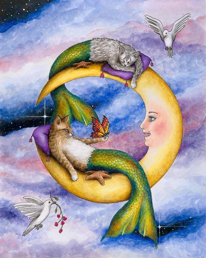 Cat Mermaid 29 Painting by Lucie Dumas
