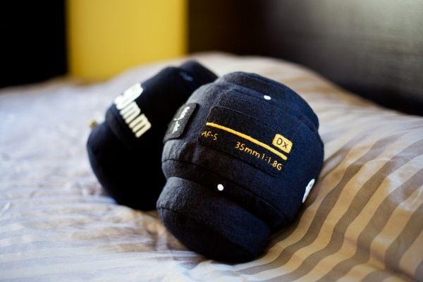 Lens Pillow: Choose 'Nikon' or 'Canon', $59 #Pillow #Lens_Pillow #photojojo