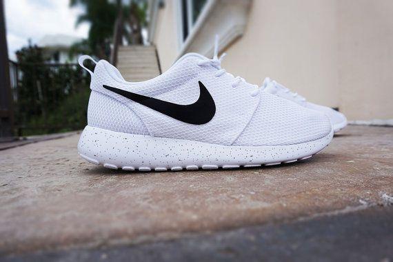 814c4af639e ... clearance womens custom nike roshe run sneakers minimalistic black and  white design black nike swoosh with