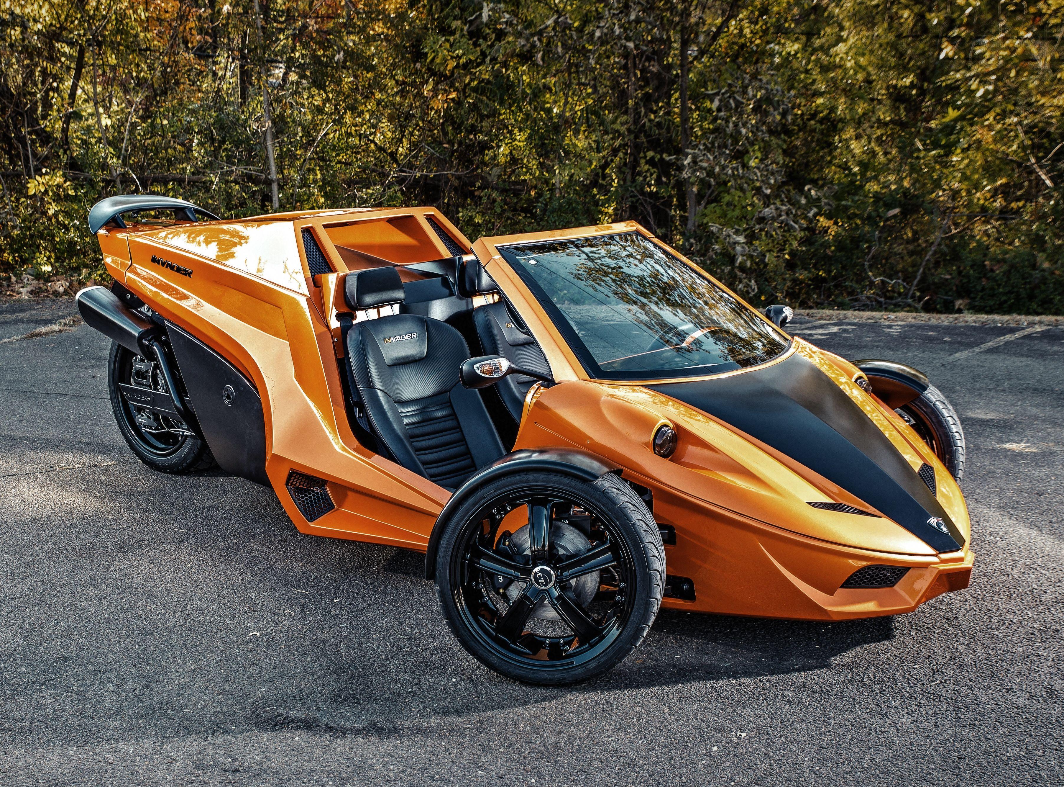Orange Black Tanom Invader Tc 3 Coupe Polaris Slingshot Trike Motorcycle Reverse Trike