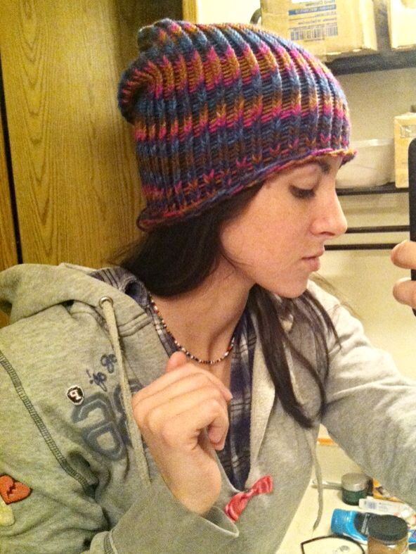 Loom knit hat c: yay finally done. I love my knitting loom c: thank you my beautiful sister.