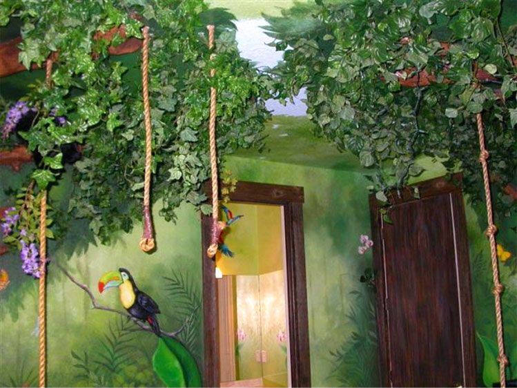 fabulous jungle house bedroom pictures | Jungle Rooms | Wall murals & paintings - Jungle bedroom ...