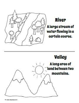 Landform coloring worksheets for kindergarten landform for Landforms coloring pages