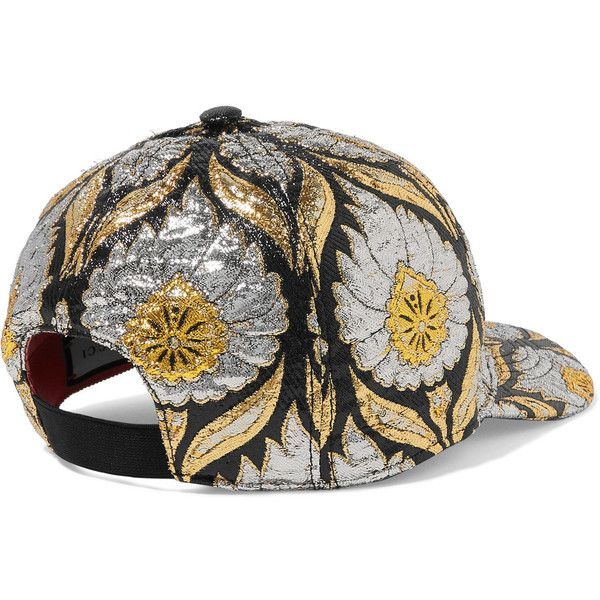 0364b96ac7a Gucci Berta metallic jacquard cap ( 305) ❤ liked on Polyvore featuring  accessories