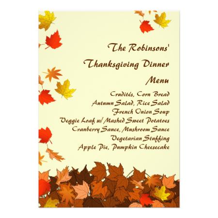 colorful falling leaves thanksgiving dinner menu thanksgiving