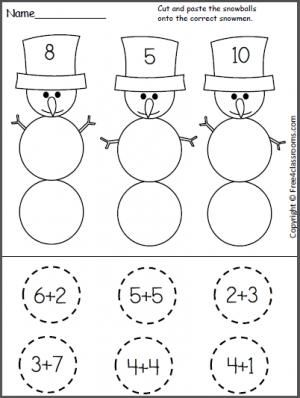 Free Cut and Paste Snowman Addition Worksheet. Students find the ...