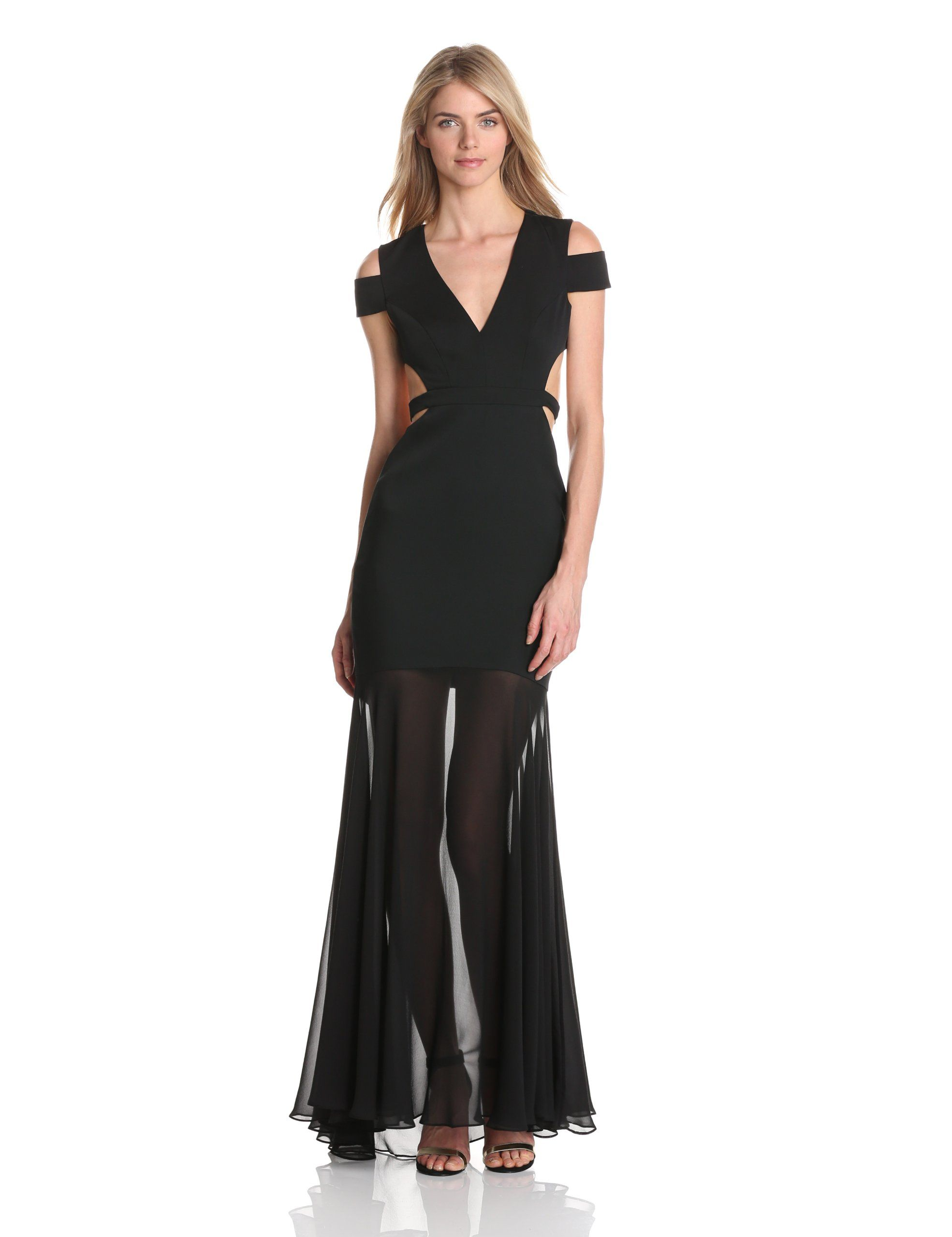 24bb2f0c61ef BCBGMAXAZRIA Women's Ava Cut Out Evening Gown, Black, 12 Love his dress  altered without the gauzey bottom part