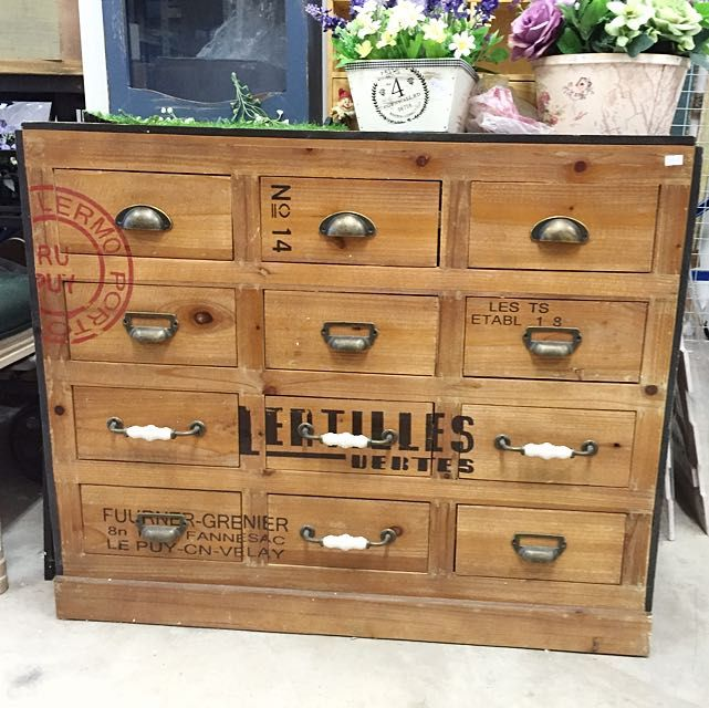 Special Offer - Large Size Natural Wood Industrial 12 Drawers on Carousell