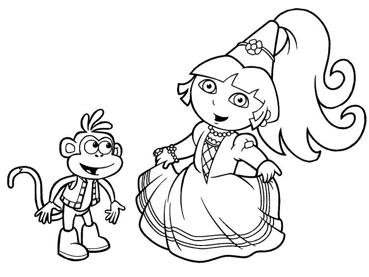 Dora The Explorer Princess Coloring Pages