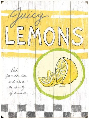 Juicy Lemons Vintage Wood Sign from @Layla Grayce #laylagrayce #sign ...