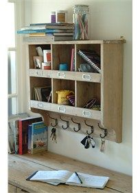Wooden Cubby Hole Unit With Hooks Providing 6 Spacious Cubby Holes And 5 Equally Useful Hanging Hooks With Images Wall Unit Cubby Storage Wooden Cubby