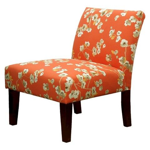 Exceptional Avington Upholstered Slipper Chair Coral/White Floral