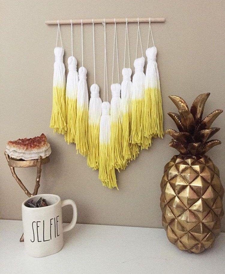 tassel mobile, yarn tassel garland, dip dye tassels, dip dye mobile ...
