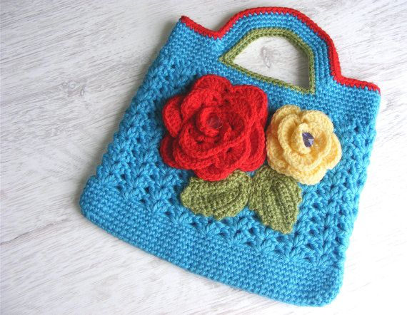 Girl's crochet bag, hand bag, purse, clutch, with flowers and leaves, gift for girl, spring summer, turquoise red yellow green