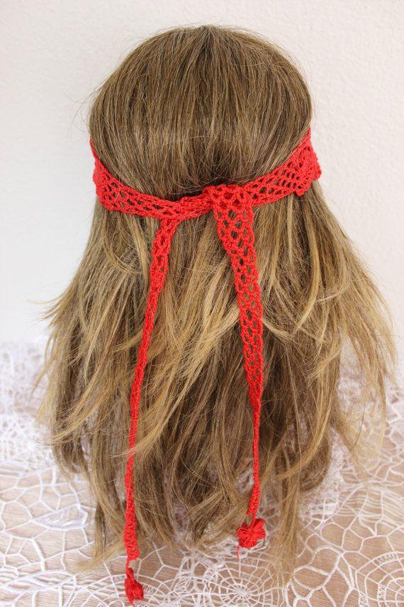 Crochet red headband, Red mesh tape, Red tape, Handmade headband, Bohemian hair band, Women hair bands, Red headband, Red beach accessories