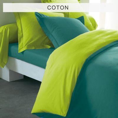 Tertio Linge De Maison.Housse De Couette Bicolore En Coton Tertio Emeraude Vert