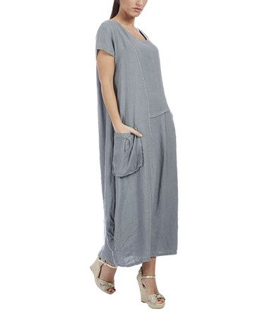 Loving this Gray Side-Pocket Linen Maxi Dress - Plus Too on #zulily! #zulilyfinds