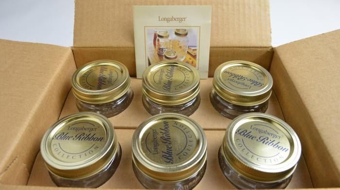 Longaberger Blue Ribbon Collection Half-Pint Canning Jars /& Lids 6 in Box #96123