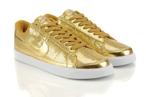 Nike Blazer Sequin Glitter Skinny Premium Retro Shoes For Women Low Gold