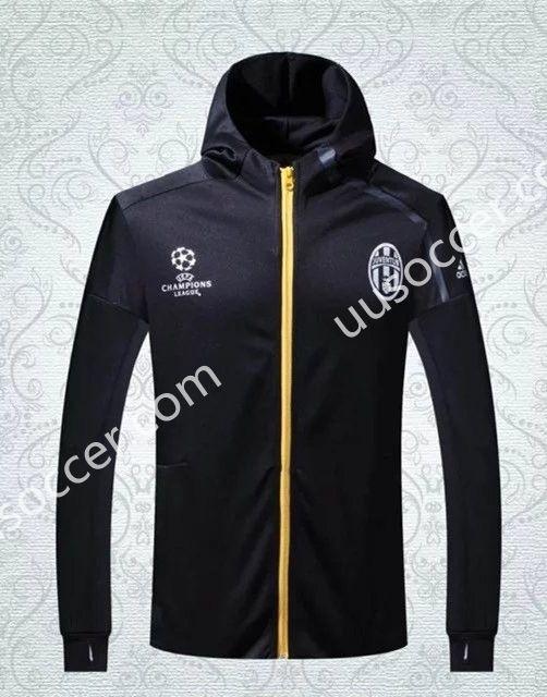 5336fa37c91 2016-17 Juventus UEFA Champions League Black Soccer Hooded Thailand Jacket