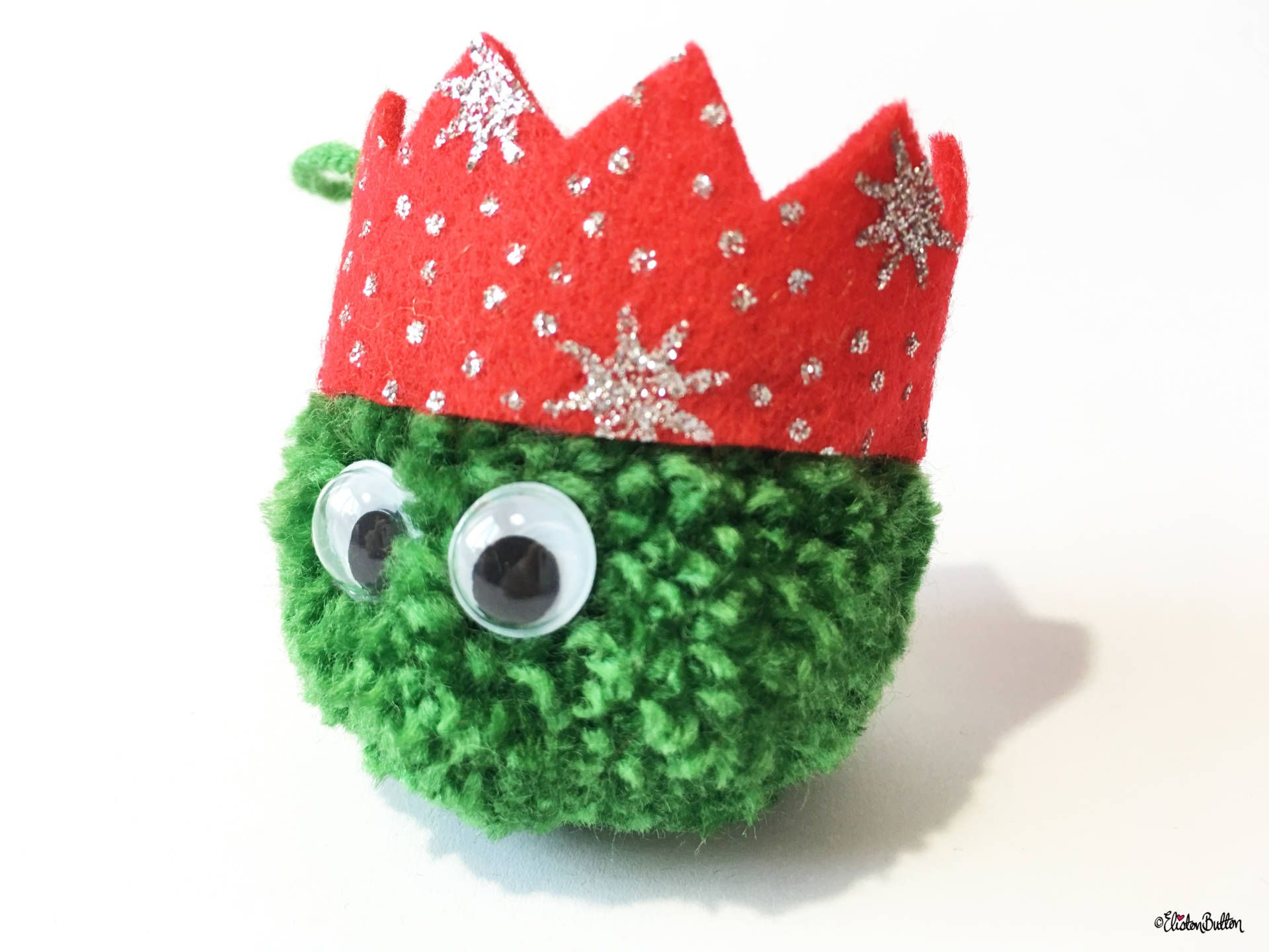 Dark Green, Red Glitter Party Hat Pom Pom Sprout Christmas Decoration Side View - Create 30 - No. 8 & 9 - Christmas Sprout Garland and Decorations at www.elistonbutton.com - Eliston Button - That Crafty Kid – Art, Design, Craft & Adventure.
