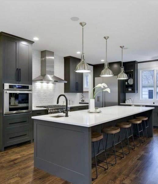 Top 70 Best Modern Kitchen Design Ideas - Chef Driven Interiors #moderndecor Modern Grey Kitchen Cabinets With White Quartz Countertops Design
