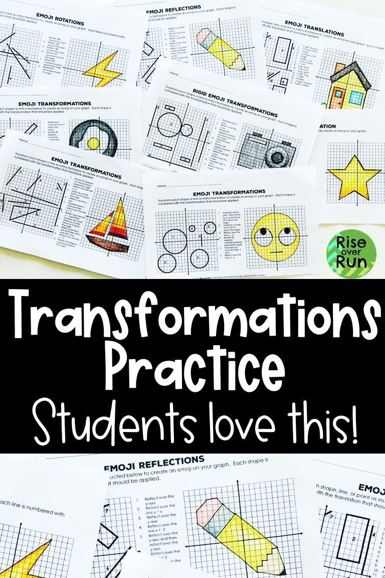 Transformations Practice Emojis Translate Reflect Rotate And Dilate In 2020 Reflection Activities Fun Math Activities Geometric Transformations