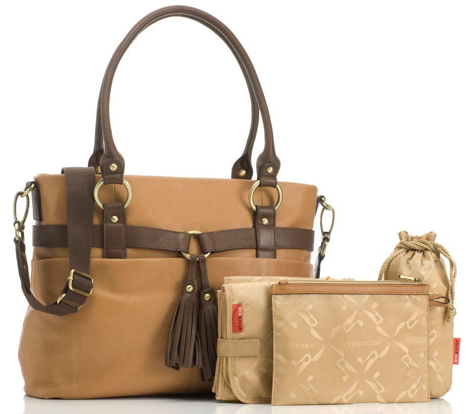 Storksak Isabella Leather Diaper Bag Caramel Designer Bags Free Bella B Baby Wipes