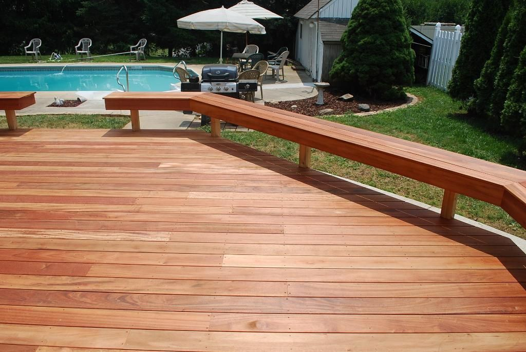 deck benches Tigerwood Deck with Benches Hardwood Decks Photo
