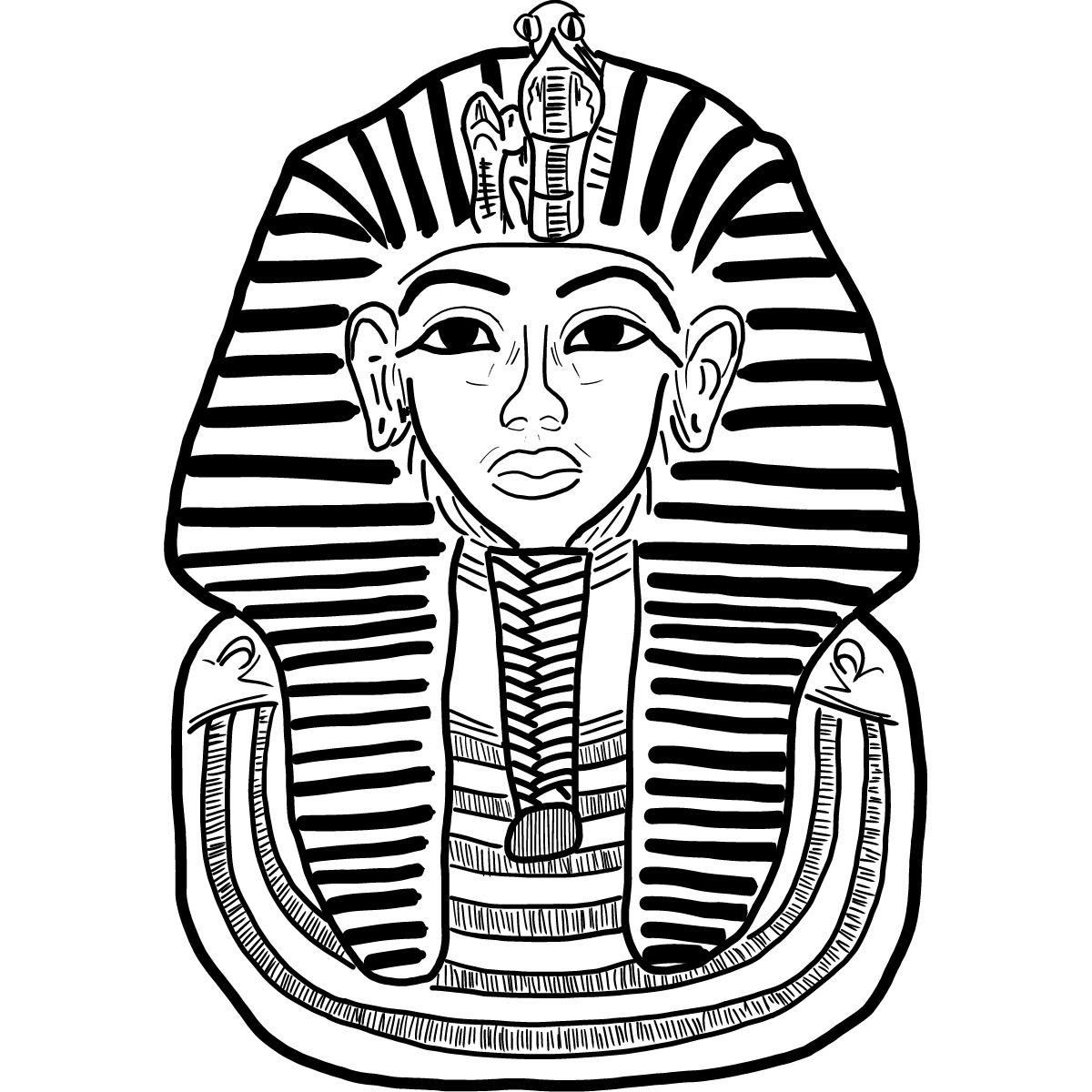 Tutankhamun Black And White Illustration