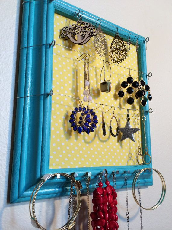 Blue Jewelry Organizer Jewelry Holder by WyomingClothesline