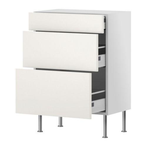 AKURUM 12 inch depth Base cabinet with 3 drawers, white, Härlig ...