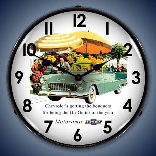 Collectable Sign And Clock Gm1002238 14 1955 Bel Air Convertible Lighted Clock Yellow Wall Clock Clock Garage Clock
