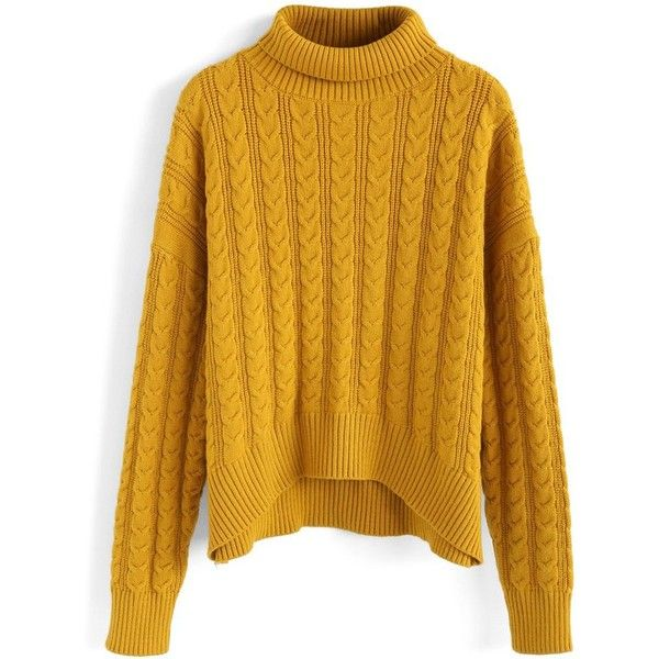 Chicwish Amiable Hue Turtleneck Cable Knit Sweater In Mustard 52