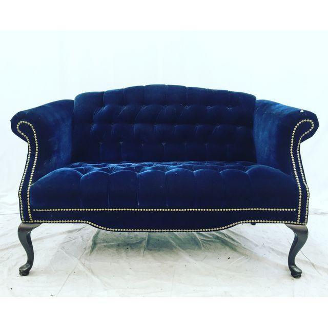 Vintage Navy Blue Tufted Velvet Loveseat | Pinterest ...