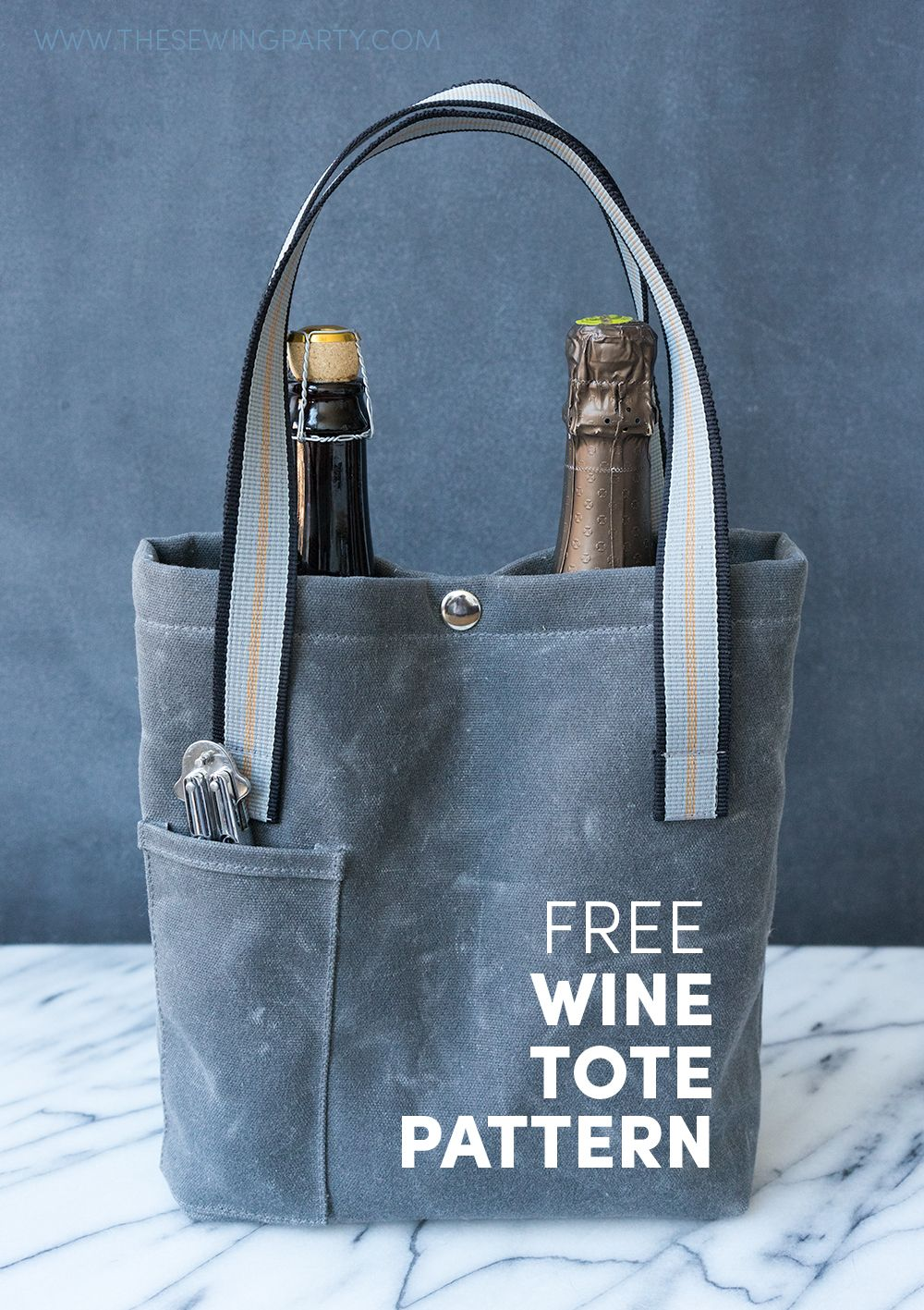 Free Sewing Pattern And Tutorial Wine Tote Sewing Pinterest