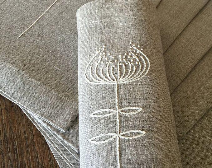 Sábanas Placemats bordado a mano Set 6 tela de lino natural