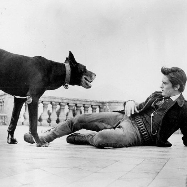 "AlainDelon on the set of ""Il Gattopardo"" directed by #LuchinoVisconti, 1963"