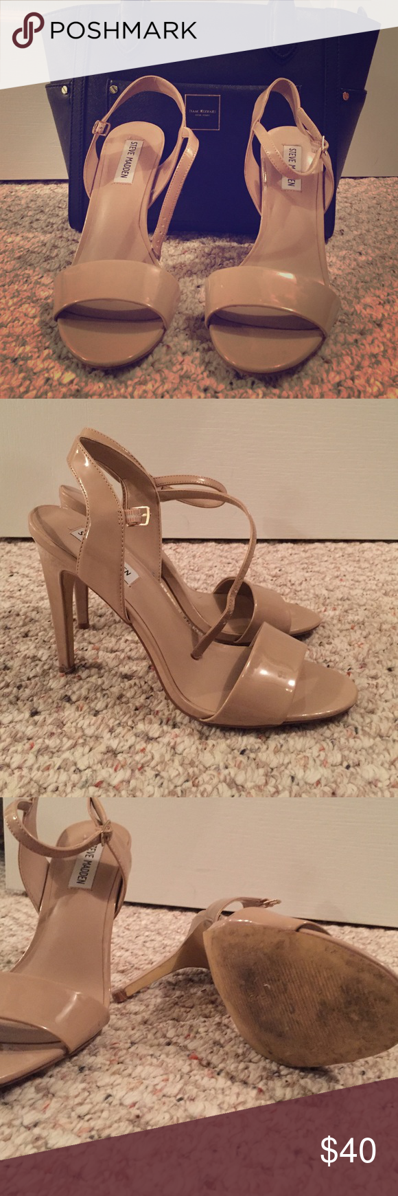 ✨BOGO! ✨Steve Madden Patent Leather Nude Heels Only worn once! In great condition. I just bought another pair that fit me better. Steve Madden Shoes Heels