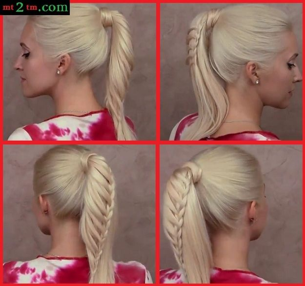 Cute back to school hairstyles tutorial Braided ponytail New Year's Christmas updo for long hair | Beautiful Photography