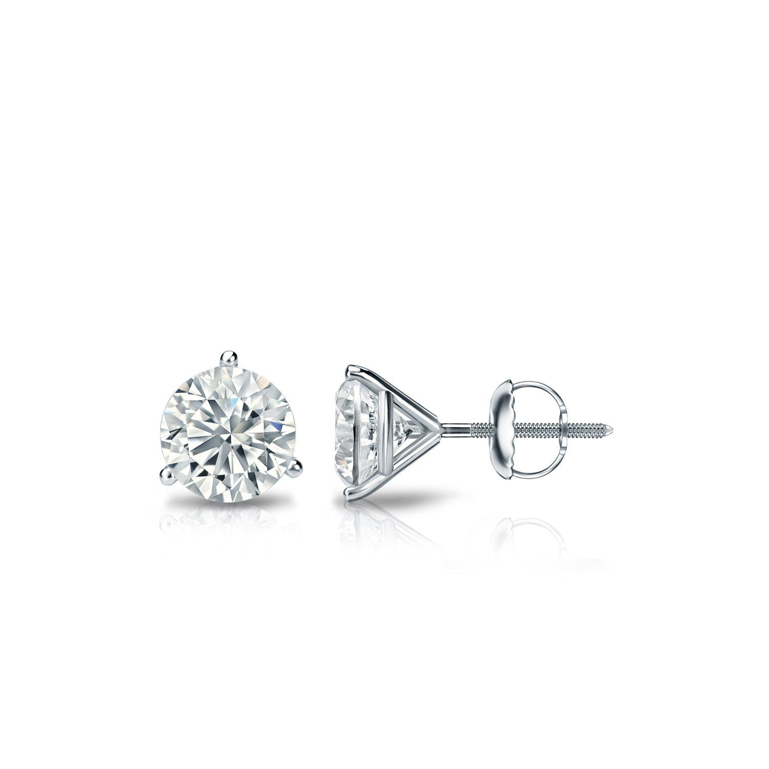 stud gold carat diamond three ctw white prong earrings in