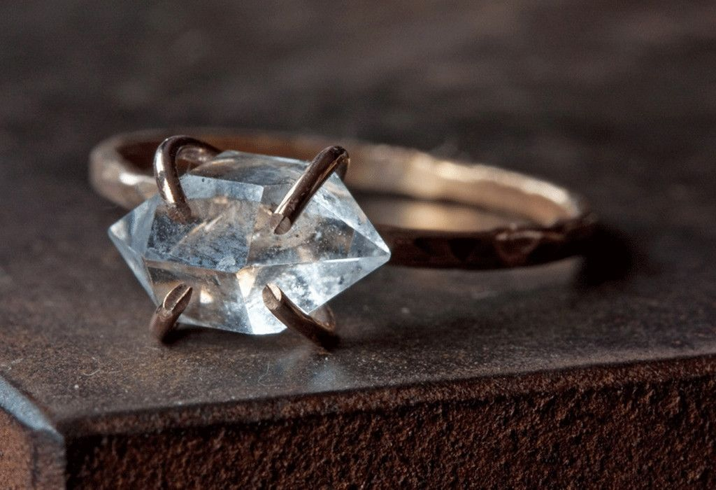 Natural Rose Cut Diamond Tiny Silver Minimalist 925 Fine Sterling Silver Ring