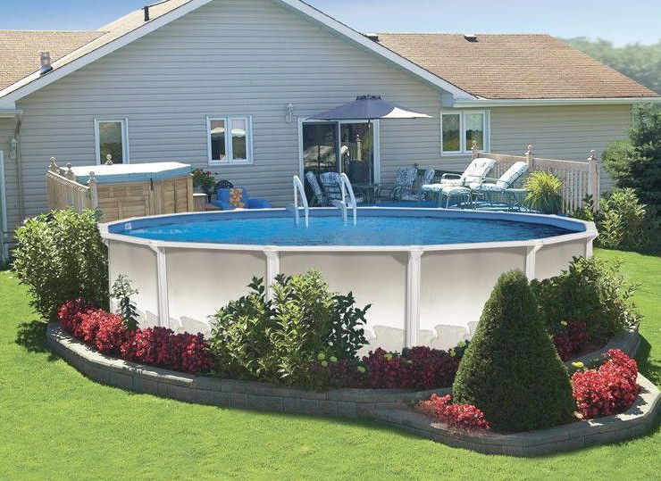 18 Foot Round Above Ground Pool Pools Backyards Above Ground Pool Landscaping Above
