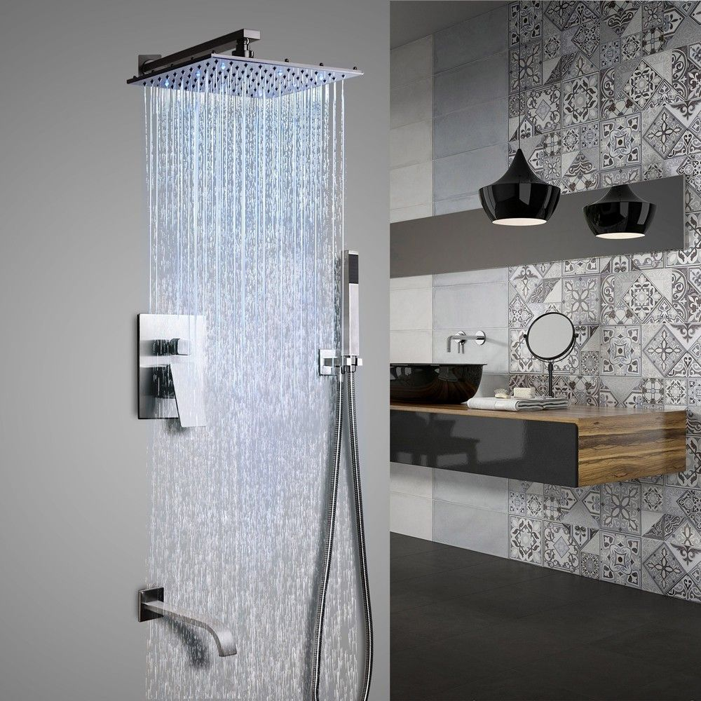 Dree Led Brushed Nickel Shower Set Rain Shower Hand Shower Tub