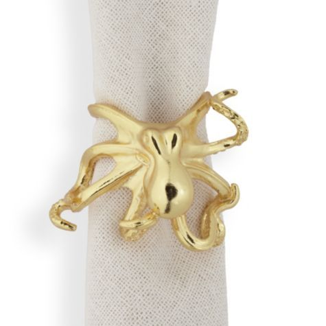 Octopus Napkin Ring Set of 4 Gold from Z Gallerie