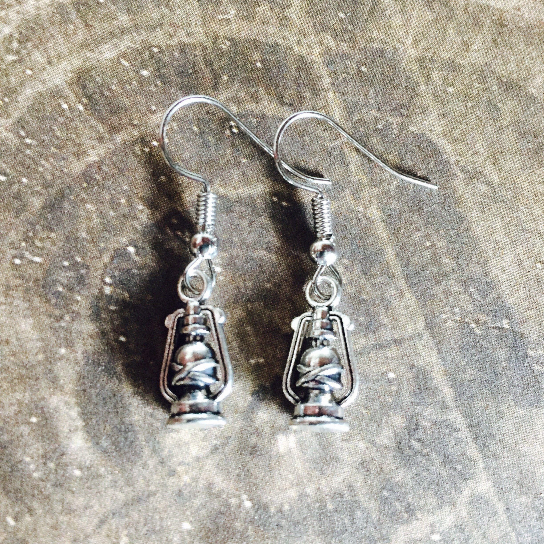 Lantern Earrings - Tibetan Silver - Camping Earrings by BohemianHeartery on Etsy