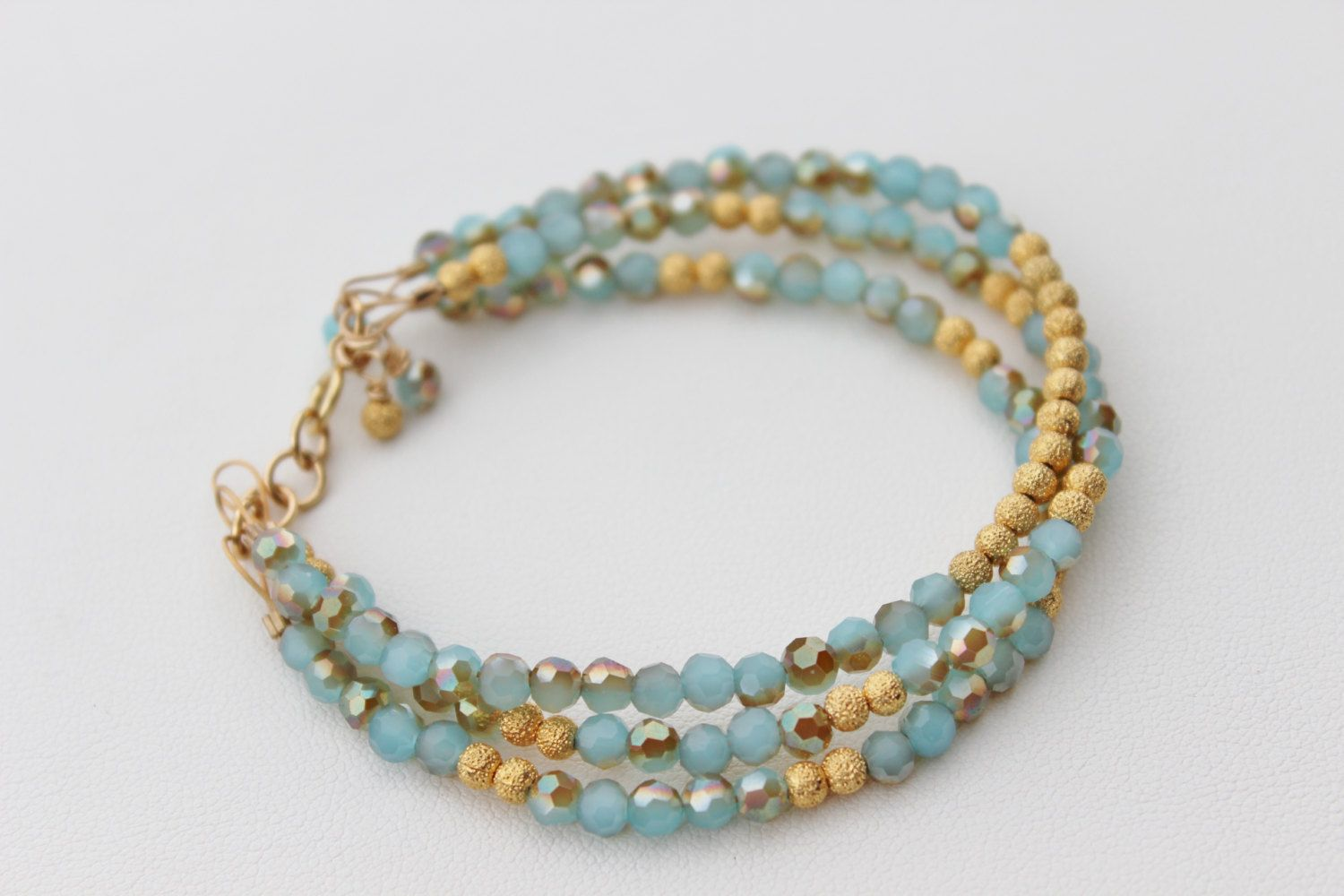 Gold beaded bracelet triple layer bracelet k gold filled