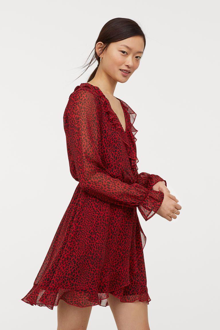 7833a67b5e07 Slå om-kjole med flæser - Rød Leopardmønstret - DAME