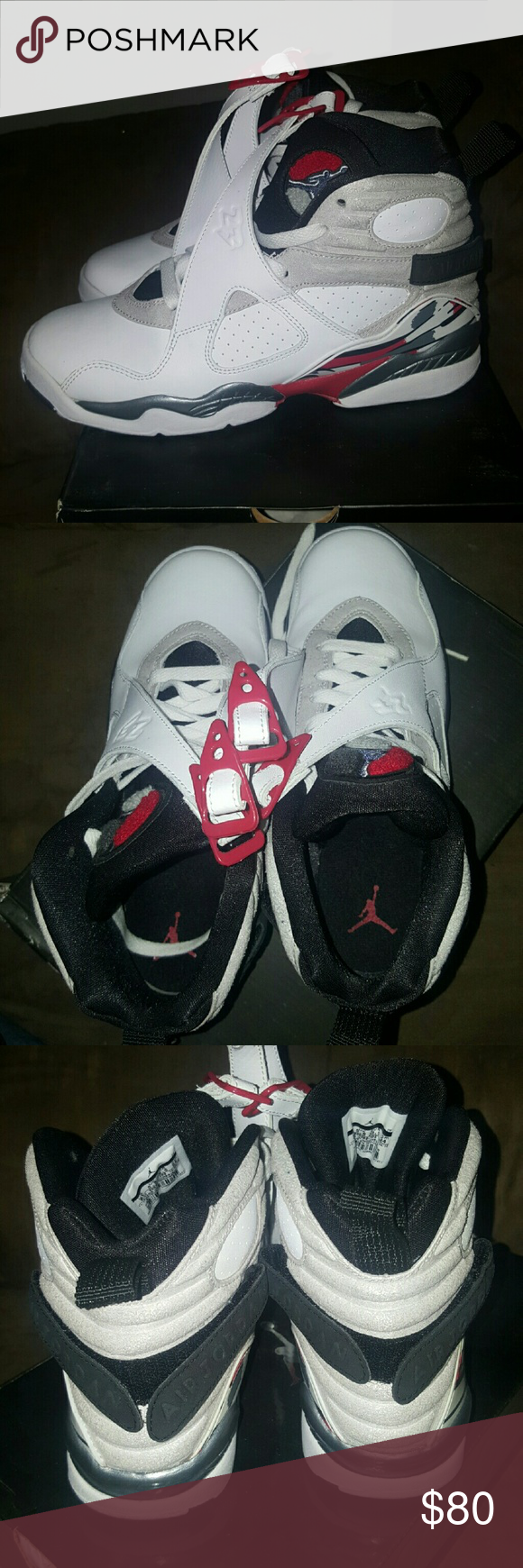 Air Jordan 8 Retro - white/black/true red Condition as in photos. Only worn once. Like new. Smoke and pet free home in box. Jordan Shoes Sneakers