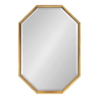 Brayden Studio Botello Elongated Octagon Modern Beveled Accent Mirror Finish Black Framed Mirror Wall Accent Mirrors Mirror Wall